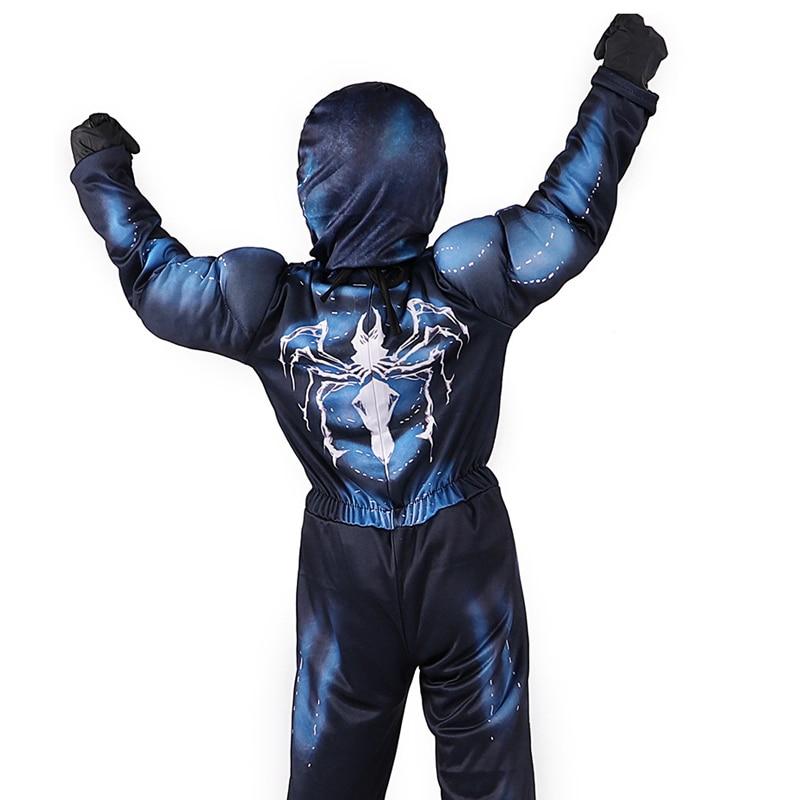 Купить с кэшбэком Horror Venom Costumes Kids Spiderman Costume Halloween Costume For Kids disfraz Scary Venom Muscle Suit Child Spiderman Suit