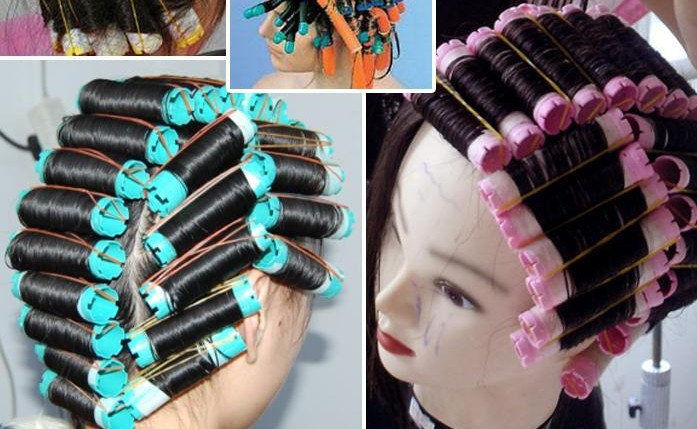 2bags (16-20pcs) / lot Cold Perm Rod Hair Curlers Rollers Plast Hollow Core Flexi Rod Frisørverktøy bigoudis magique curler