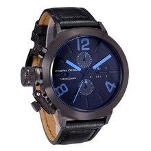 Стали Часы мужчины люксовый бренд Спортивные Часы кварцевые часы Кожа черная Военная наручные часы хронограф Водонепроницаемость
