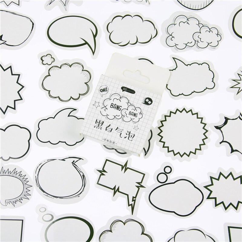 45PCS/box Creative Dialog Box Album Paper Lable Stickers Crafts And Scrapbooking Decorative Lifelog Sticker Cute Stationery