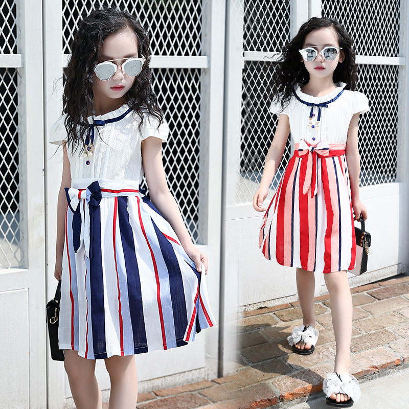 Preppy Style Colorful Stripe Summer Girls Dresses for Kids Clothes Children A-line Dress 4 6 8 10 12 14 Years Girls Party Dress 2016 new summer lovely girls dress kids colorful a line leisure fashion dresses children clothing