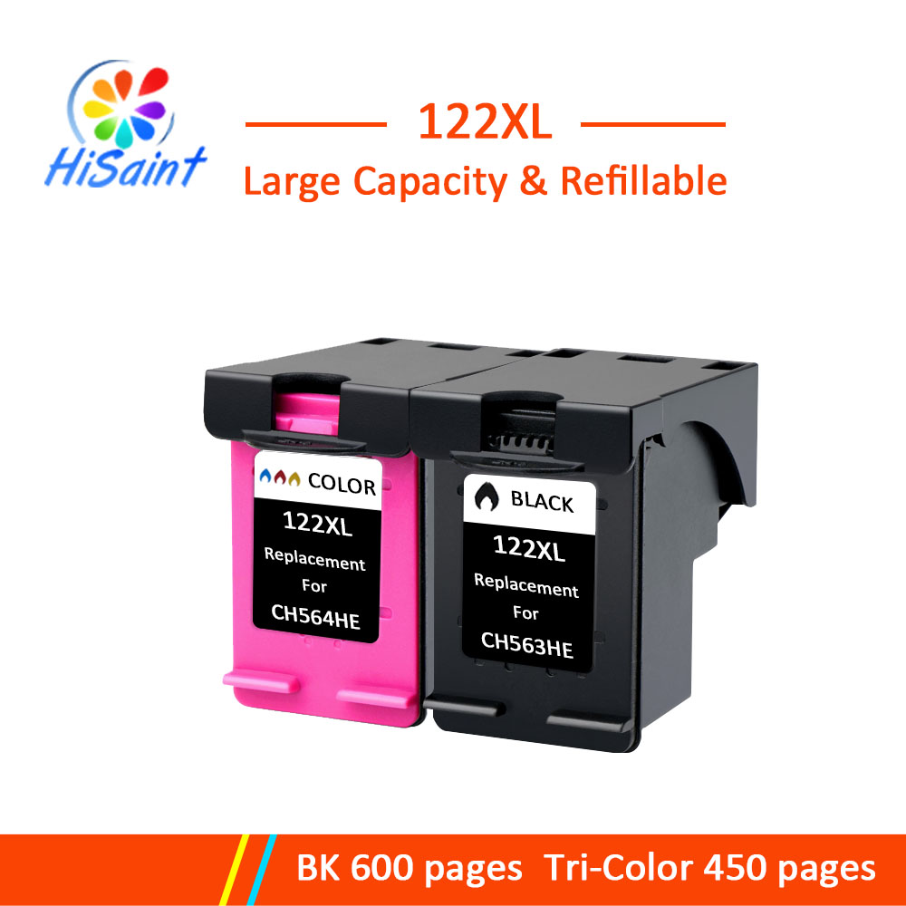 Hisaint 122XL Refilled Ink Cartridge Replacement for <font><b>HP</b></font> <font><b>122</b></font> for <font><b>HP</b></font> Deskjet 1000 1050 2000 2050s 3000 3050A 3052A 3054 1010 image