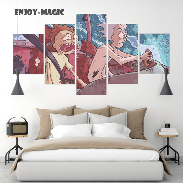 Home Decor Canvas Poster Rick And Morty Painting Wall Art Modern 5 Piece Oil Picture