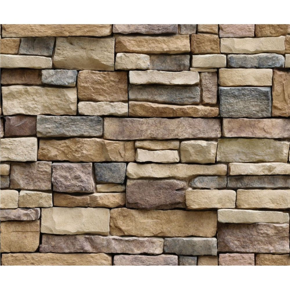 Outad New 3d Stone Brick Wallpaper Removable Pvc Wall