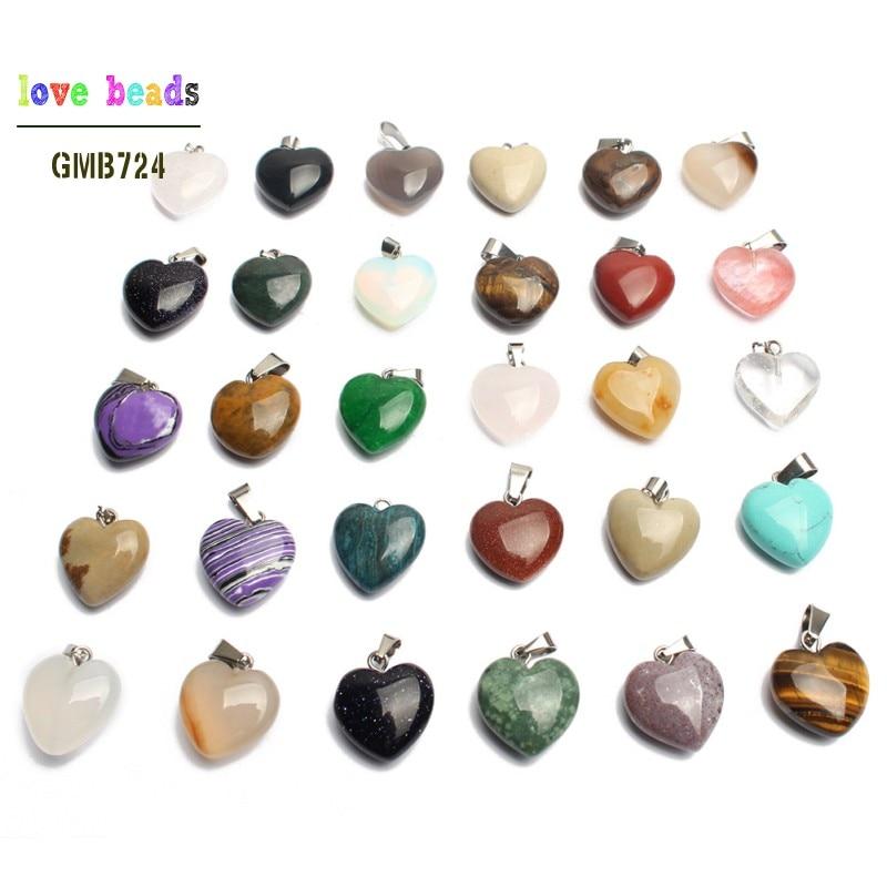 Natural Stone Necklace Pendants For Women 15*16mm Agates Jaspers Love Heart Charms Diy Jewelry Random 10pcs 30pcs 50pcs