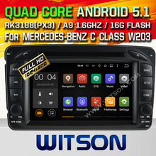 WITSON Android 5.1 CAR DVD GPS Capacitive touch screen for MERCEDES-BENZ C-CLASS W203 Cortex A9 dual-core 1.6G, 16GB Rom