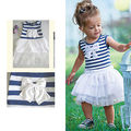 Baby Kid Girls Clothes Dresses Summer Sleeveless Striped Bow Princess Pleated Cute Dress Tutu Bubble New 1 2 3 4  5 6 Years