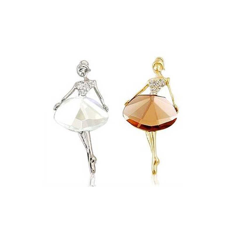 1 PC Baru Indah Bros Bling Wanita Perhiasan Permata Bros Balet Vintage Princess Ballerina Bros Gadis