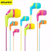 Original Awei Q6i Candy Color Stereo Earphones 3.5mm IN Ear Earbuds Super Bass Headset Handsfree With Mic For Mobile Phone