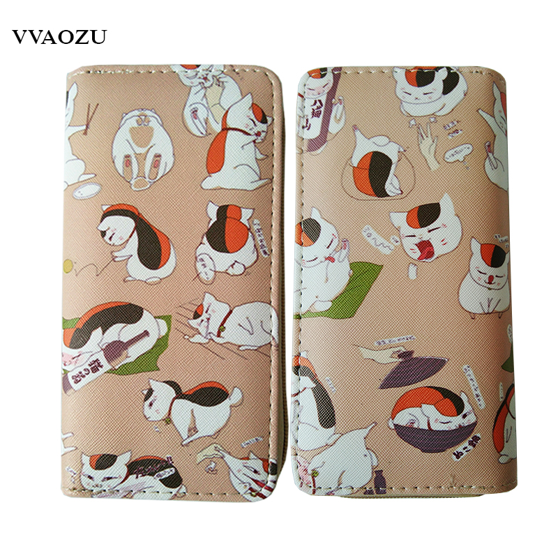 Natsume Yuujinchou PU Leather Wallets Anime Nyanko Sensei Long Zipper Wallet Coin Purse anime natsume yuujinchou women s cartoon wallet female clutch long purse zipper coin pocket card holder portefeuille femme