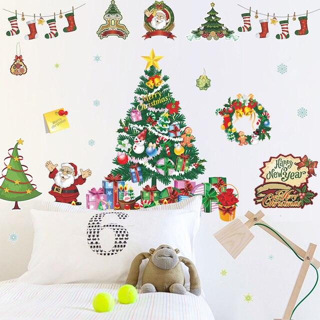 Aliexpress.com : Buy Merry Christmas Santa Claus Wall Stickers ...
