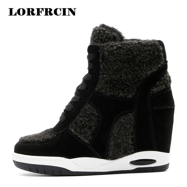 89b8bc56e758 LORFRCIN Genuine Leather Women Boots Hidden Heel Winter Platform Ankle Boots  Warm Shoes Woman High Increasing Wedge Snow Boot