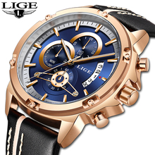 hot deal buy lige men's watches top brand luxury gold watch men military leather sports watches waterproof quartz timer male wristwatches new