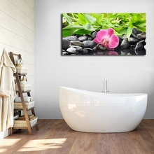 Large Poster Waterside Black Pebble Purple Orchids Zen Spa Wall Art Canvas Painting Nature Picture for Home Office Decor