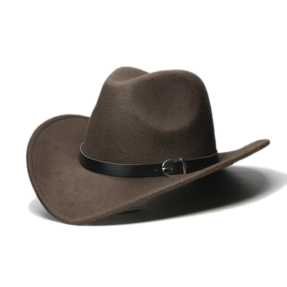 Unisex Western Cowboy Hat Equestrian Cowgirl Cap Wide Brim Brown Leather Band