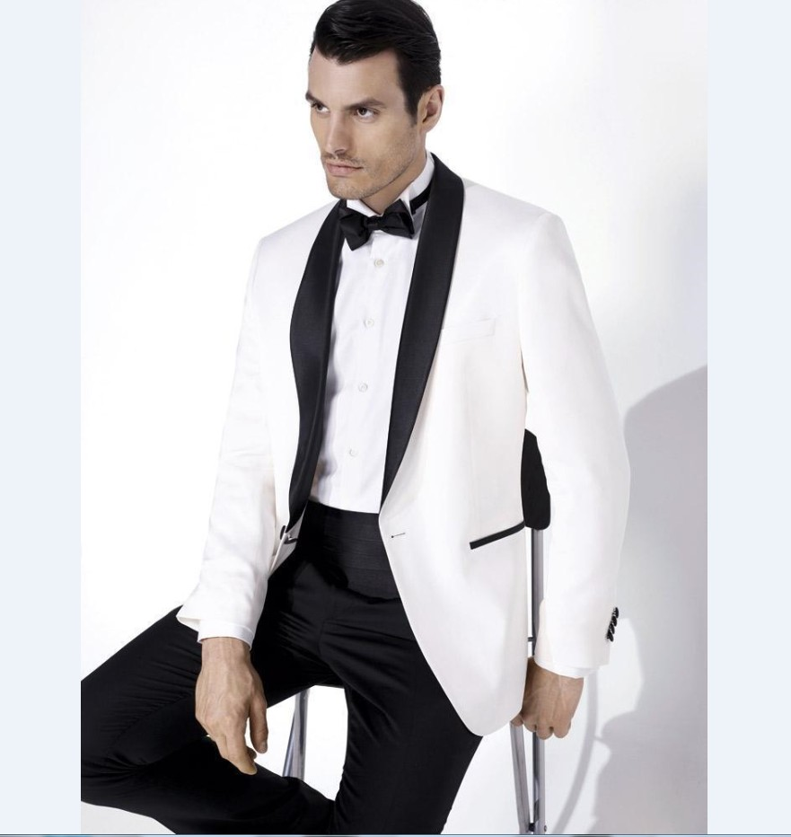 Groomsmen Shawl Satin Lapel Groom Tuxedos White Jacket Black Pants Mens Suits Wedding Best Man (Jacket+Pants+ Bow Tie ) B8228