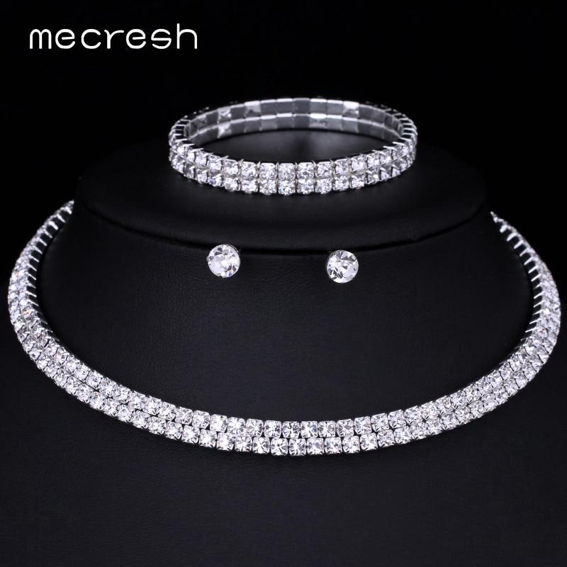 Mecresh Crystal Bridal Jewelry Sets Silver Color Rhinestone Necklace - Märkessmycken - Foto 5