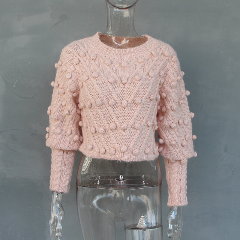 O Knitted Modis Girl Women Sweet Little 69718 Mujer Sleeves Pink Lattern Sueter Fashion 2019 Balls Pullover Solid Sweater neck Neploe yR5cwq40v