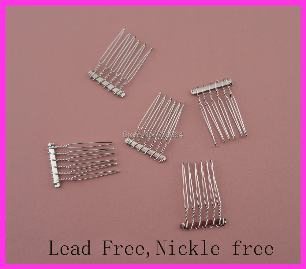 20pcs 2.5cm*3.7cm 6teeth Silver Finish Plain Metal Hair Combs at lead free and nickle free,hair accessories BARGAIN for BULK