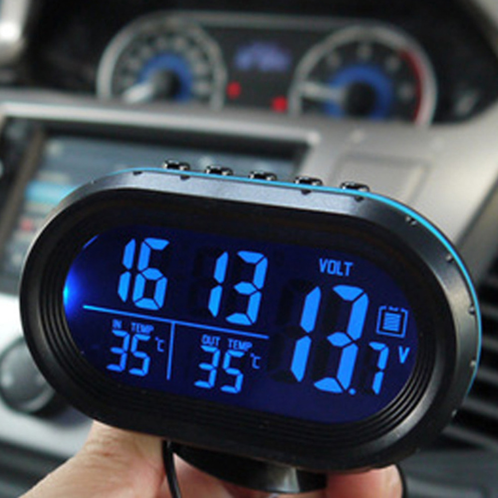 Lcd Digital Car Clock Thermometers Voltage Alarm Clock 12v