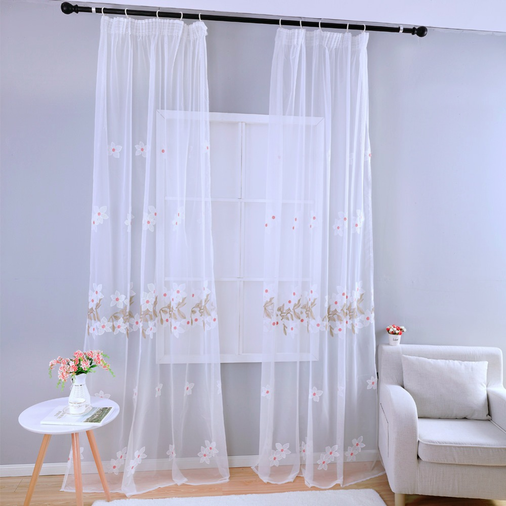 Kids modern bedroom curtains - Free Shipping Panel Embroidered Curtain Sheer Modern Window Window Curtain White Tulle Kid Bedroom Fabrics Curtain