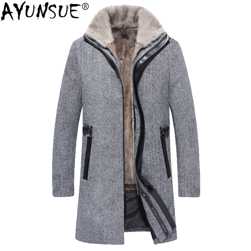 Genuine Leather Coats Ayunsue Real Fur Coat Men Mink Fur Liner Mens Winter Jacket Racoon Fur Collar Luxury Parkas Overcoat Veste Homme Hiver Kj1252 Jackets & Coats