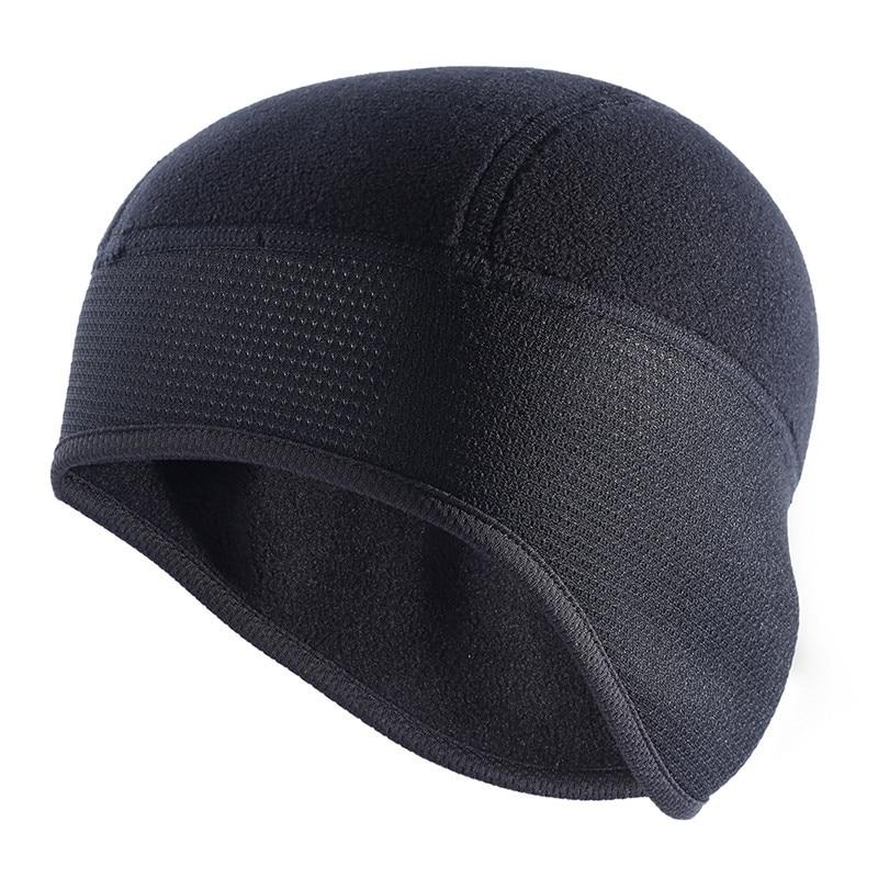 Outdoor Sports Running Cap Winter Windproof Hood Warm Composite Fleece Semi-circular Black Thickened Breathable Hat