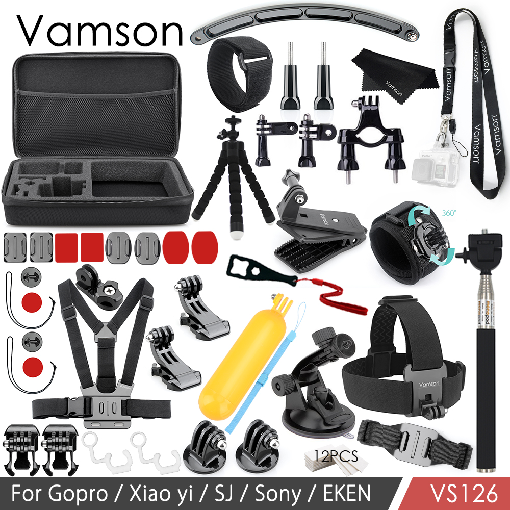 Vamson for Gopro Hero 6 5 4 3 Accessories Kit Adapter Mount Tripod Neck Strap for Xiaomi for Yi for Eken for SJCAM Camera VS126