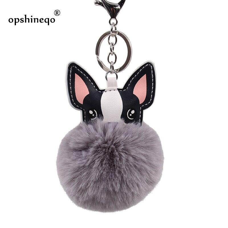 2019 Cute Dog Keychain Fluffy Rabbit Fur French Bulldog Keychains Pompon Key Chain Leather Animal Holder Women Bag Car Key Ring