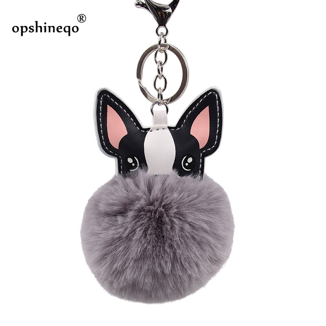 Anel chave Bola de Pêlo de Coelho Fofo Francês Bulldog Chaveiros chaveiro Pompom Saco Titular Chaveiro de Couro Artificial Animal Cão