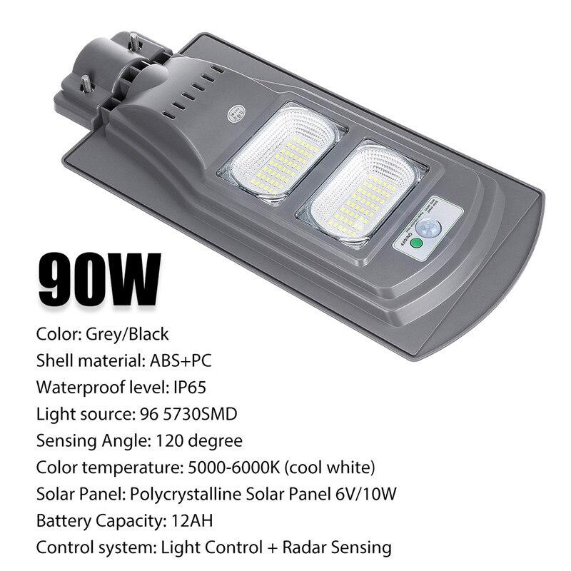 Sécurité lumineuse superbe de lampe de capteur de mouvement de réverbères de mur de lampe solaire de 90 W LED pour la cour de jardin IP65 imperméable