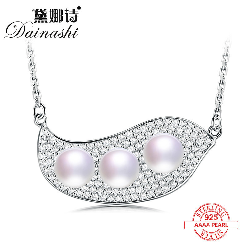 ethnic bean/boat shape 925 sterling silver 100% original real pearl pendants with chain fine jewelry for women gifts
