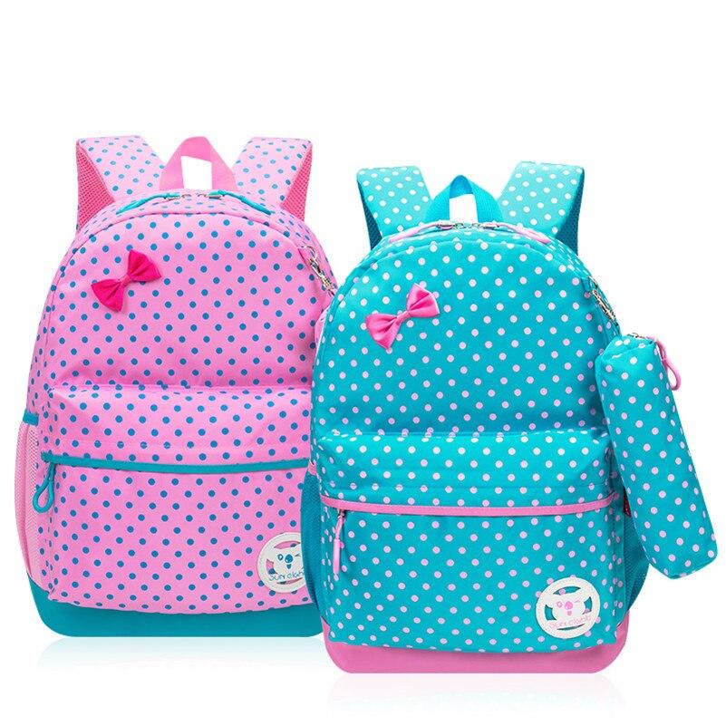 Fashion Dot Children School Bags for Girls Quality Nylon School Backpack Kids Bag with Pencil Case Schoolbag mochila escolar