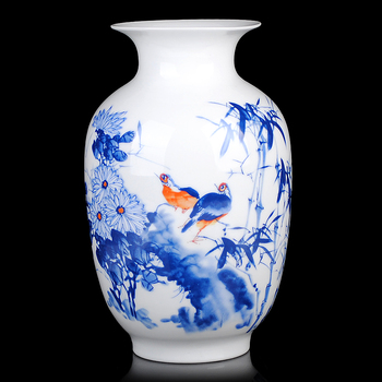 blue and white ceramic flower bottle bottle gourd live and work in peace modern fashion decoration Home Furnishing