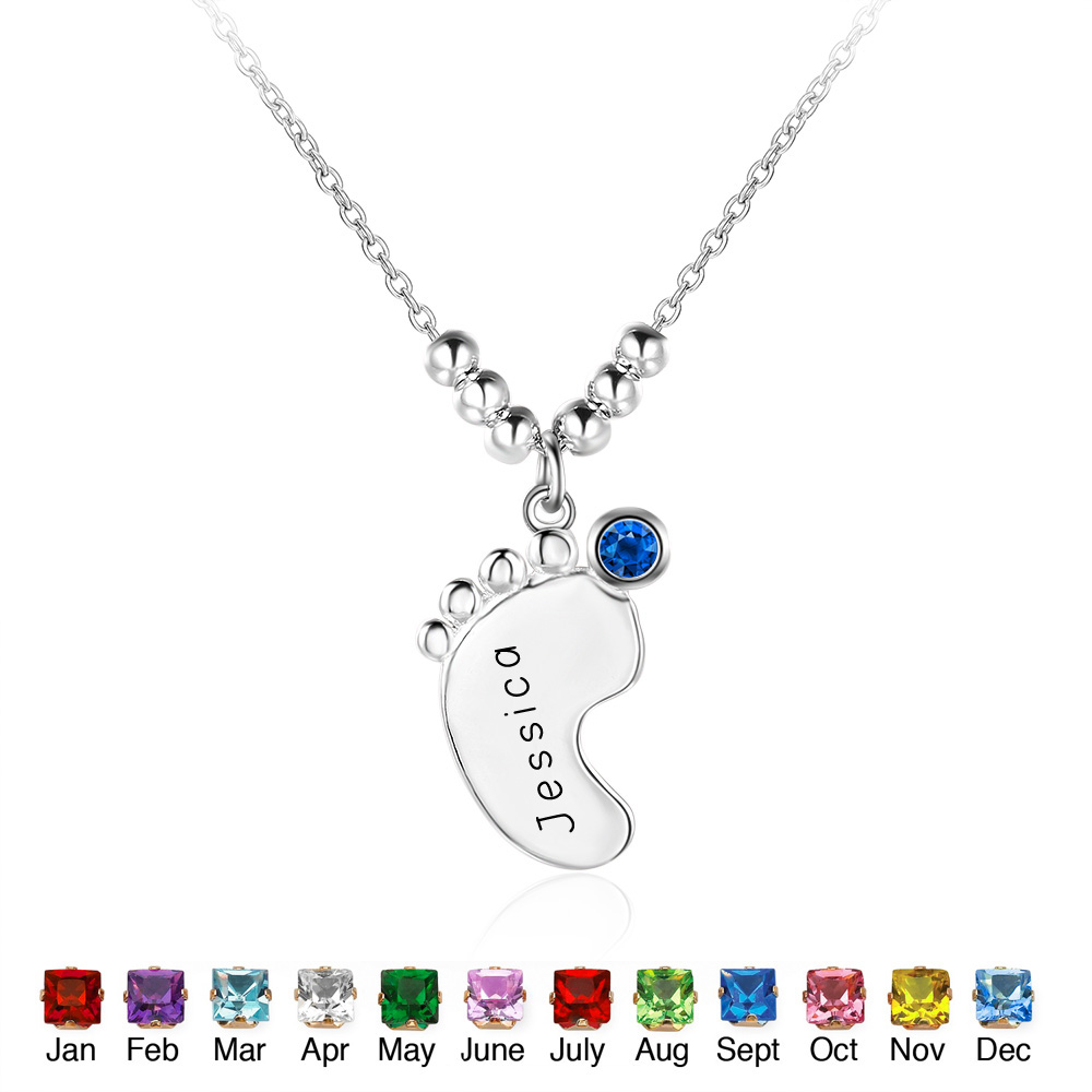 Customized Name Necklace 925 Sterling Silver Birthstone Little Feet Artistical Personalized Jewelry Gift For New Mom (NE101413) Customized Name Necklace 925 Sterling Silver Birthstone Little Feet Artistical Personalized Jewelry Gift For New Mom (NE101413)