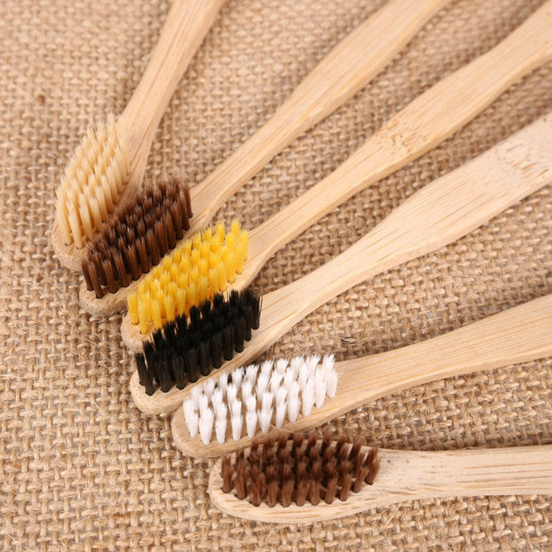 10pcs/lot Wood Bamboo Charcoal Toothbrush For Oral Health Low Carbon Medium Soft Bristle Handle Toothbrush