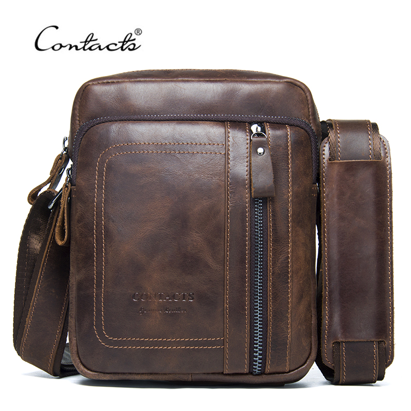 CONTACTS Genuine Leather Men Bag Male Messenger Bag Casual Tote Shoulder Bags With Zipper Pocket For Men Crossbody Bags