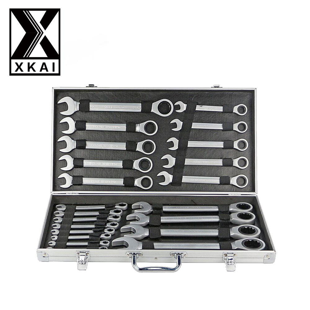 XKAI 22pcs 6-32mm Ratchet Spanner Combination wrench a set of keys ratchet skate tool  ratchet handle Chrome Vanadium yofe combination wrench canvas bag 6pcs set spanner wrench a set of key ratchet skate tool gear ring wrench ratchet handle tools