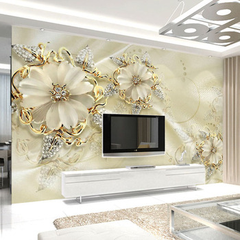 European Style Jewelry Flower TV Background Wall Custom Mural Wallpaper Home Improvement Bedroom Wall Paper Wallcoverings 2