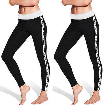 Women Cotton Leggings Hipster Fitness Leggings Grey Pink Letter Printed Leggins Brand Fashion Ladies Work Out Legging Pants image