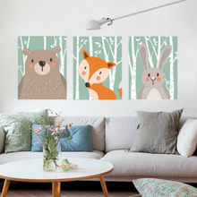 Cartoon Animals Canvas Art Print Poster Wall Picture Kids Bedroom Decor Unframed(China)