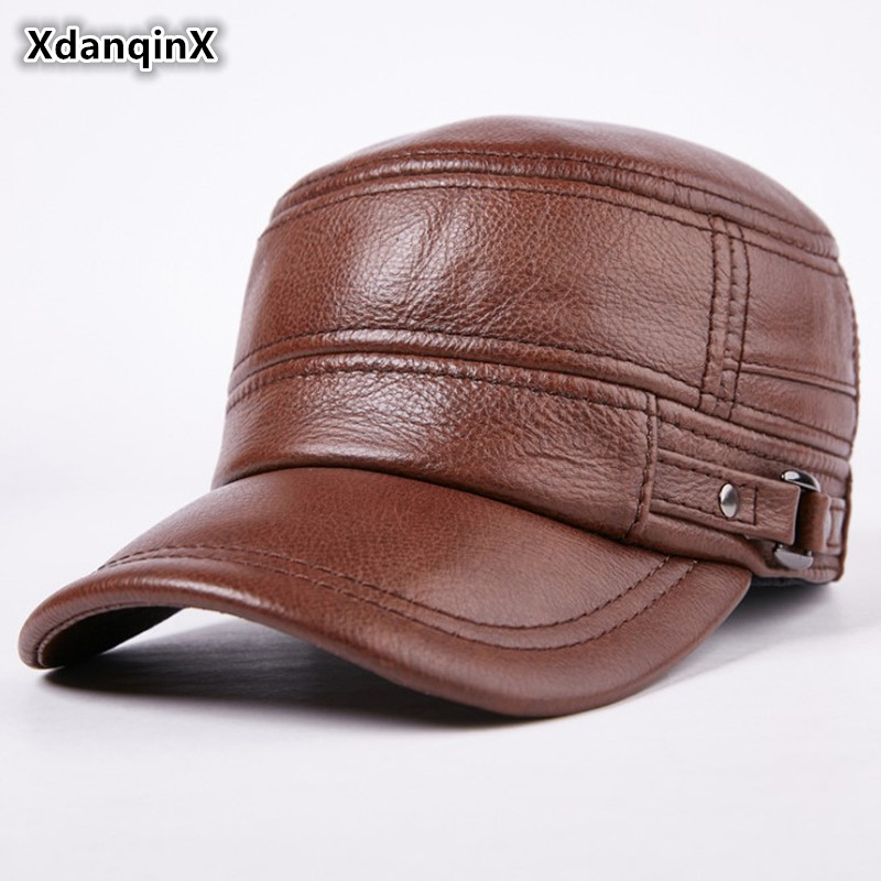 XdanqinX Autumn Winter Adult Men Genuine Leather Warm   Baseball     Caps   Cowhide Flat Top   Cap   For Middle-aged Men Brands Leather Hats