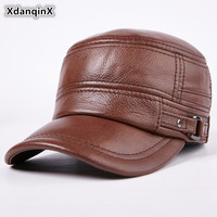 XdanqinX Autumn Winter Adult Men Genuine Leather Warm Baseball Caps Cowhide Flat Top Cap For Middle aged Men Brands Leather Hats