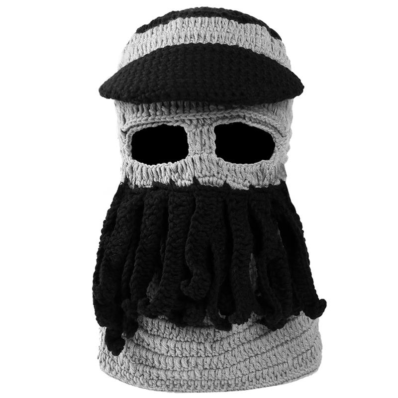 VBIGER Warm Hat Funny Octopus Knitted Beard Cap Windproof Winter Ski Face  Mask Soft Beanie Skullies with Brim Tentacles -in Skullies   Beanies from  Apparel ... ea0d49724df2