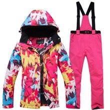 2018 outdoor windproof waterproof warm ski suit suit women's ski jacket + ski pants women's winter sports thickening ski shirt стоимость