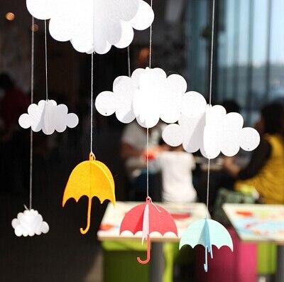 1 set clouds small umbrella diy felt ornaments party supplies