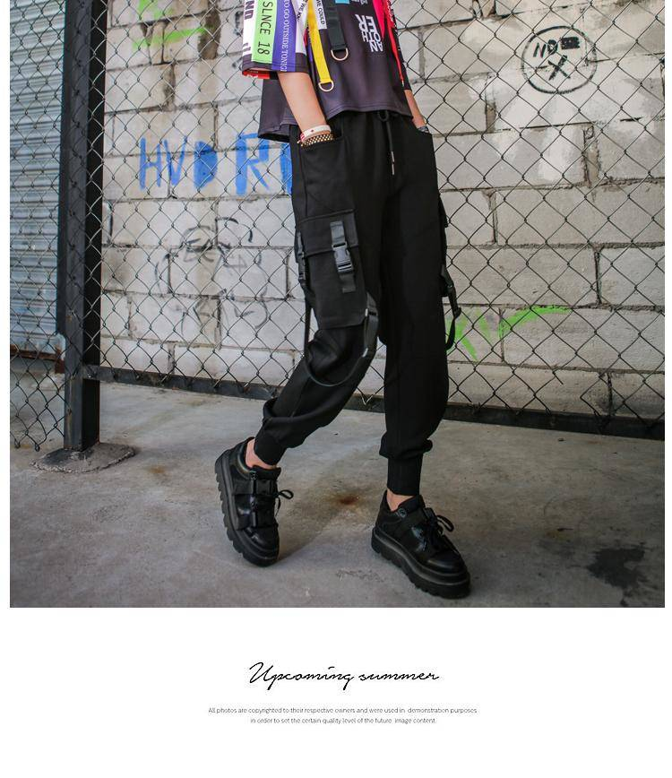 Black High Waist Cargo Pants Women Pockets Patchwork Casual Funny Loose Streetwear Pencil Pants Fashion Hip Hop Women Trousers 4