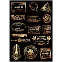 15x Sticker Vintage Gold Post Mark Seal A4 tamaño teléfono tabletas ipad, equipos portátiles equipaje Skateboard bicicleta motocicleta adhesivo decorativo para coche