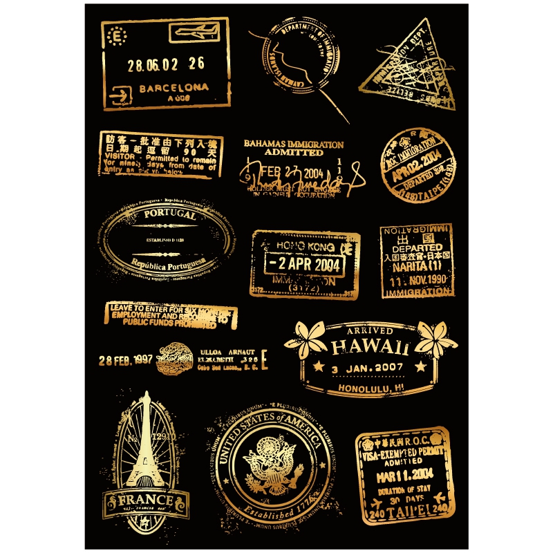 15x Sticker Vintage Gold Post Mark Seal A4 Size Phone iPad Tablet Laptop Luggage Skateboard Bicycle Motorcycle Car Styling Decal