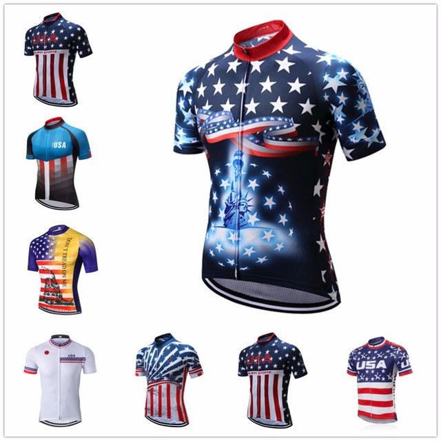 2018 USA cycling jersey youth Short sleeve Mens Mountain Bike jersey summer MTB  clothing Maillot Ciclismo Tops red breathable a309b4d67